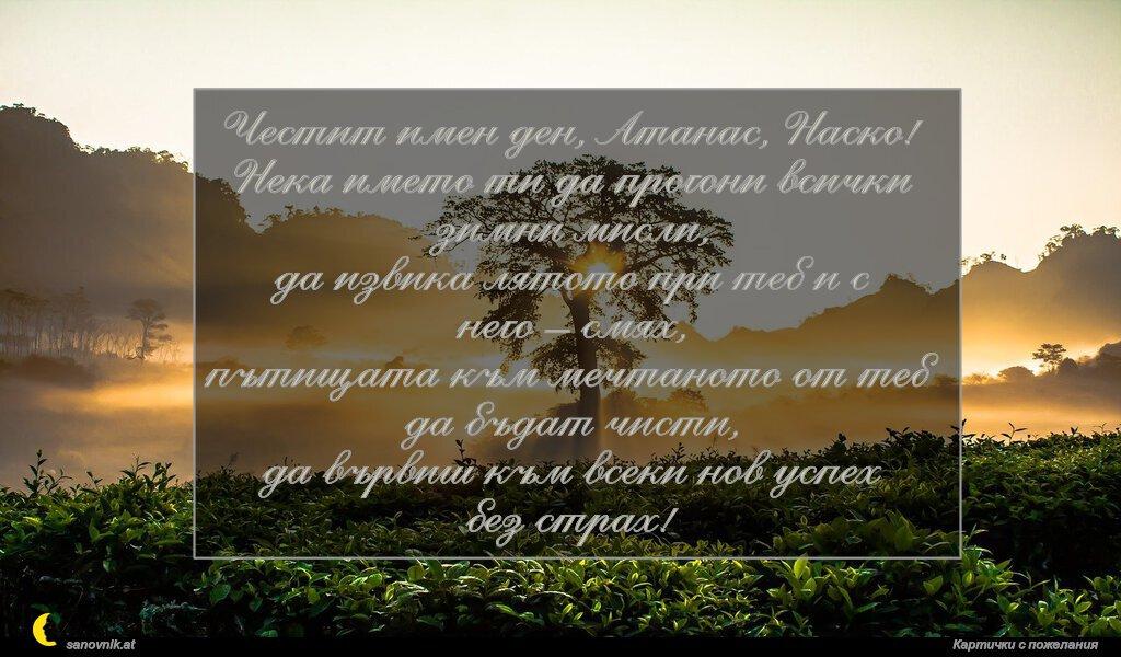 Честит имен ден, Атанас, Наско! Нека името ти да прогони всички зимни мисли, да извика лятото при теб и с него – смях, пътищата към мечтаното от теб да бъдат чисти, да вървиш към всеки нов успех без страх!