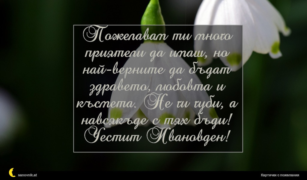Пожелавам ти много приятели да имаш, но най-верните да бъдат здравето, любовта и късмета. Не ги губи, а навсякъде с тях бъди! Честит Ивановден!