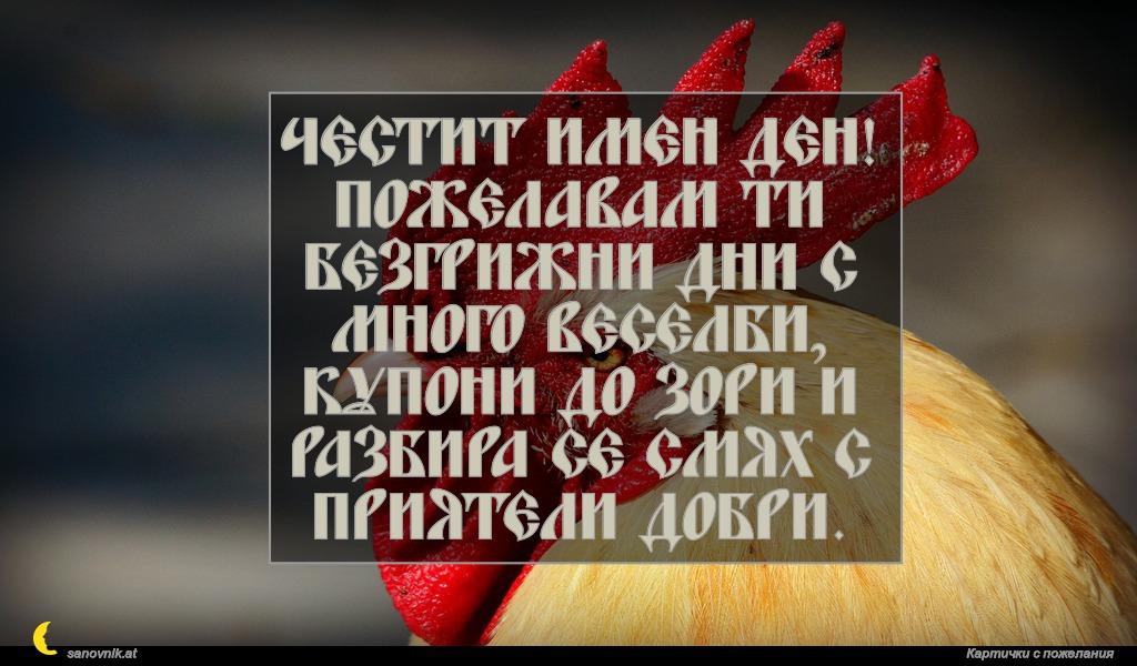 Честит имен ден! Пожелавам ти безгрижни дни с много веселби, купони до зори и разбира се смях с приятели добри.