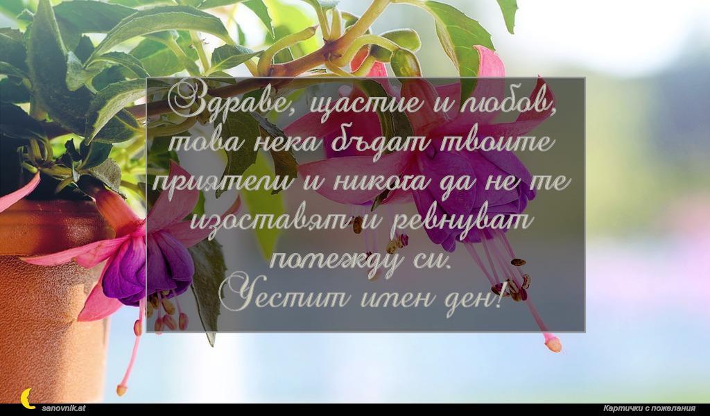 Здраве, щастие и любов, това нека бъдат твоите приятели и никога да не те изоставят и ревнуват помежду си. Честит имен ден!