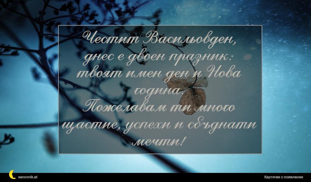 Честит Васильовден, днес е двоен празник: твоят имен ден и Нова година. Пожелавам ти много щастие, успехи и сбъднати мечти!